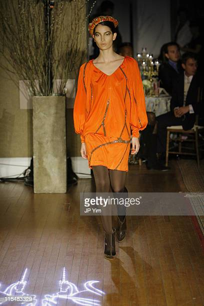 Model wearing Issa Fall 2007 during MercedesBenz Fashion Week Fall 2007 Issa Runway at Salmagundi Art Club in New York City New York United States