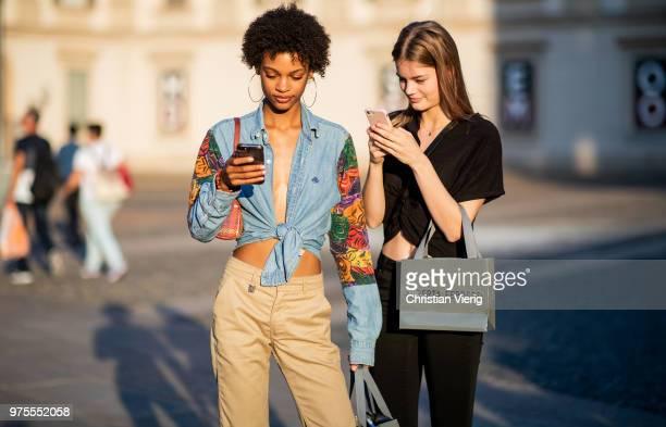Model wearing jeans shirt, Chanel bag, beige pants is seen outside Alberta Ferretti during Milan Men's Fashion Week Spring/Summer 2019 on June 15,...