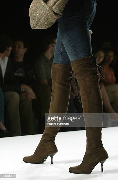 Model wearing Jenni Kayne walks the runway during the Jenni Kayne fashion show at Mercedes Benz Fashion Week in Smashbox Studios on March 30 2004 in...