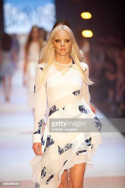 Model wearing Josh Goot at the opening of the 2015 Melbourne Fashion Festival on March 14 2015 in Melbourne Australia