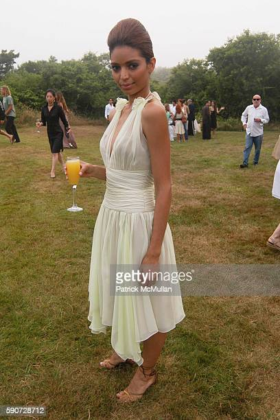 Model Wearing Junko Yoshioka attends Junko Yoshioka Presents Her Evening Wear Collection at Peter and Nejma Beard Residence on July 16 2005 in...