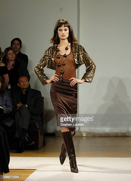 Model wearing Kai Milla Fall 2005 during Olympus Fashion Week Fall 2005 Kai Milla Front Row and Runway at The Newspace in New York City NY United...
