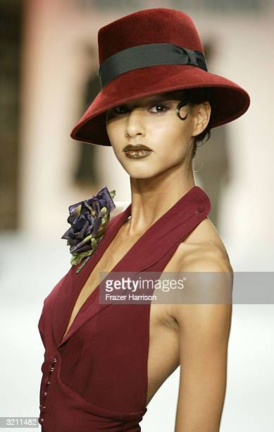 A model wearing Louis Verdad walks the runway during the Louis Verdad fashion show at Mercedes Benz Fashion Week in Smashbox Studios on April 2 2004...