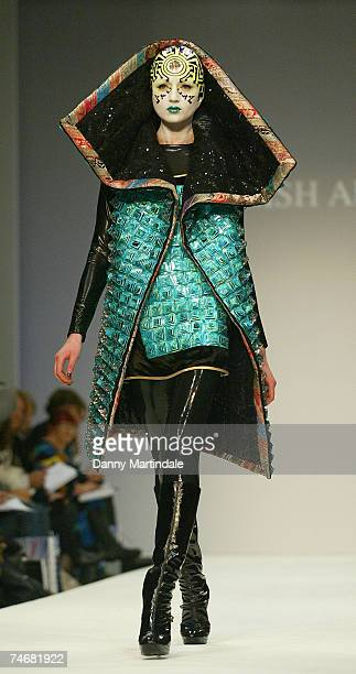 Model wearing Manish Arora Fall/Winter 2007 at the BFC Tent Natural History Museum in London United Kingdom