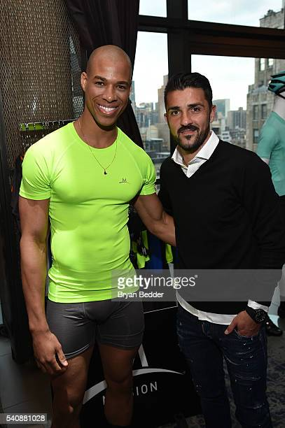 Model wearing MISSION Athlete and Soccer player David Villa of NYC Football Club for MISSION Athlete attend the 37.5/Cocona Brand showcase event at...