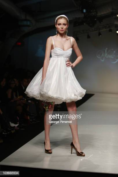 Model wearing Nada Yousif Spring 2008 Collection at L'Oreal Toronto Fashion Week on October 26, 2007 in Toronto, Canada.
