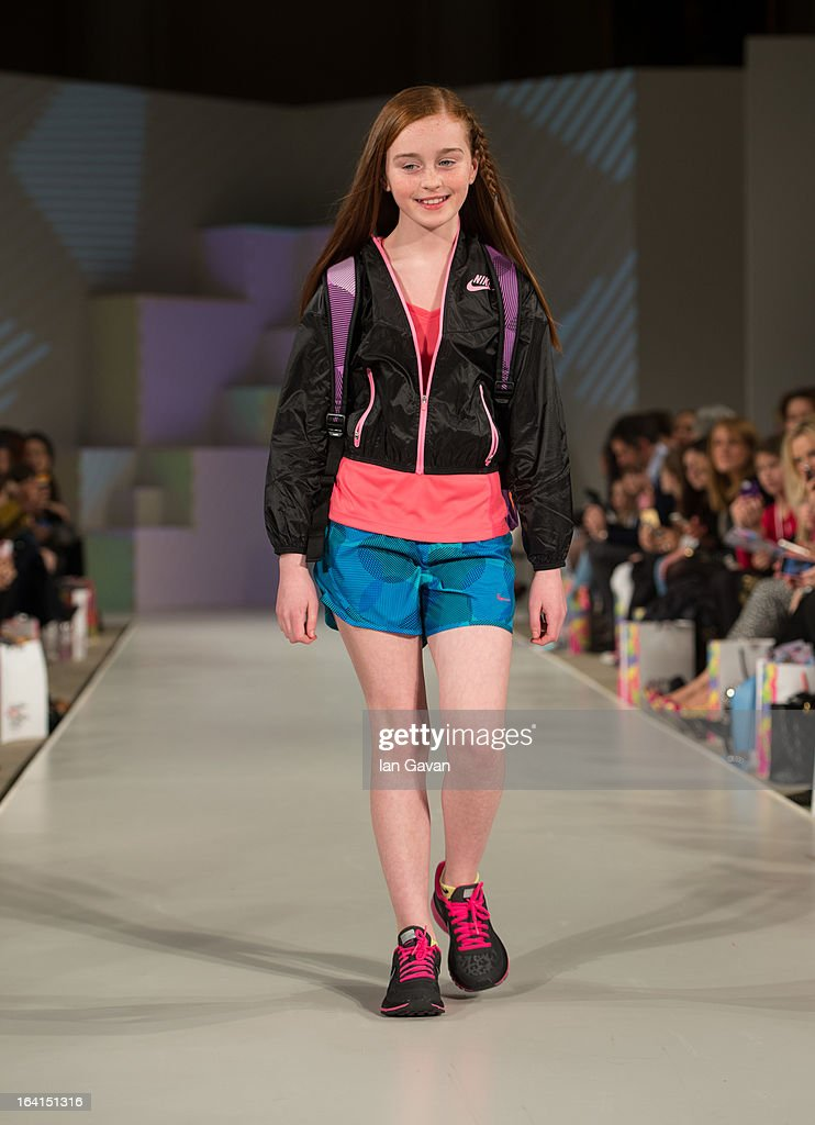A model wearing Nike Spring/Summer '13 walks the runway at the Global Kids Fashion Week SS13 public show in aid of Kids Company at The Freemason's Hall on March 20, 2013 in London, England.