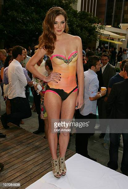 A model wearing only bodypaint poses at Foxtel's 100 Days of Summer Party at the Ivy Pool Club on November 23 2010 in Sydney Australia