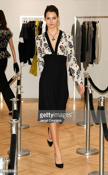 Model wearing Ossie Clark fashion at the Saks Harper's Bazaar Celebration of Falls Most Elevated Collections on Two at Saks Fifth Avenue on September...