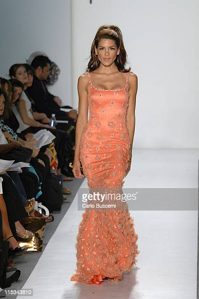 Model wearing Pamella Roland Spring 2006 during Olympus Fashion Week Spring 2006 Pamella Roland Runway at Bryant Park in New York City New York...
