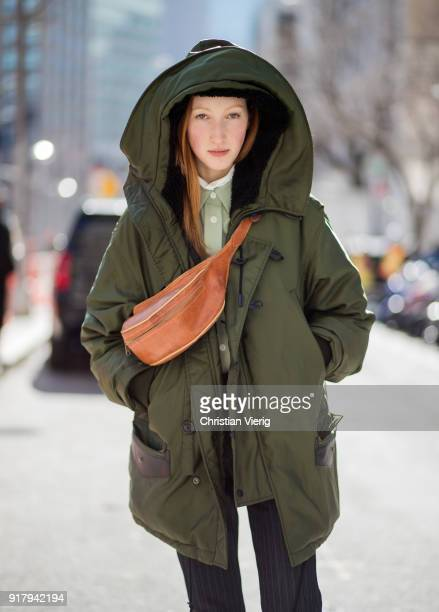 A model wearing parka belt bag seen outside Gabriela Hearst on February 13 2018 in New York City