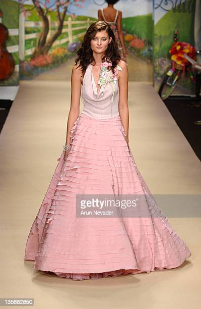 Model wearing Petro Zillia 2005 Spring Collection during Mercedes-Benz Spring 2005 Fashion Week at Smashbox Studios - Petro Zillia - Runway at...