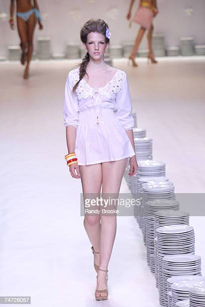 Model wearing Poko Pano at the Museum of Art Moderne in Sao Paulo Brazil