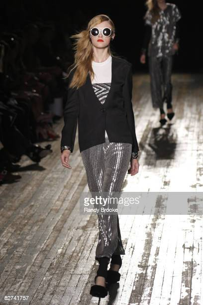 A model wearing Proenza Schouler Spring 2009 at the Park Avenue Armory on September 8 2008 in New York City