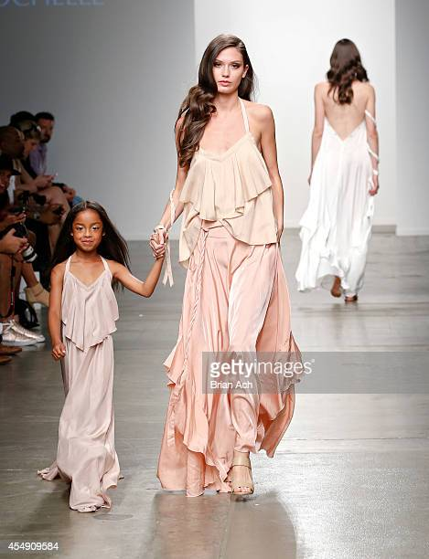 A model wearing Rumar by Rochelle is seen walking the runway during the Fashion Palette Australia show during New York Fashion Week Spring 2015 at...