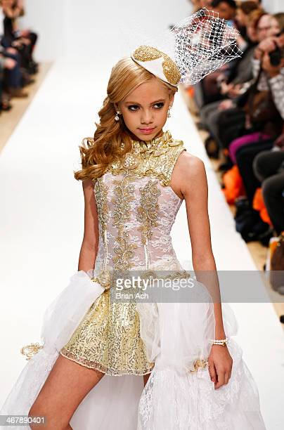 A model wearing Sacred Heart Collections appears at the Designer's Review during MercedesBenz Fashion Week Fall 2014 at Helen Mills Event Space on...