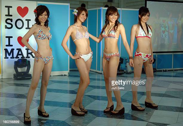 Model wearing Sanai Swimwear 2006 during Sanai Swimwear 2006 Presscall at Ikebukuro Sunshine City in Tokyo Japan