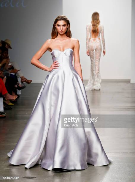 A model wearing Steven Khalil walks the runway during the Fashion Palette Australia runway show during New York Fashion Week Spring 2015 at Pier 59...