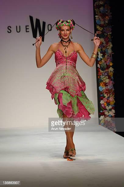 Model wearing Sue Wong Spring 2006 during MercedesBenz Spring 2006 LA Fashion Week at Smashbox Studios Sue Wong Runway at Smashbox Studios in Culver...