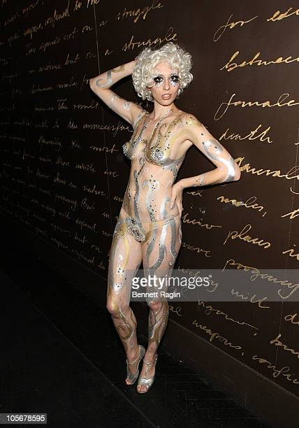 Model wearing Swarovski crystals and body paint attends the Prince Malik Records label launch party at 1OAK on October 18 2010 in New York City