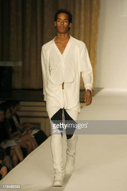 Model wearing Telfar for Gen Art Spring 2007 during Olympus Fashion Week Spring 2007 - Gen Art - Runway at Manhattan Center in New York City, New...