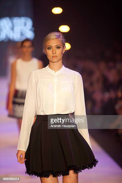 Model wearing Theory at the opening of the 2015 Melbourne Fashion Festival on March 14 2015 in Melbourne Australia
