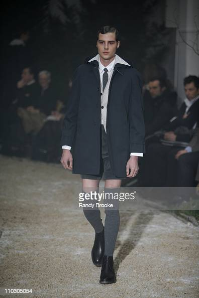 Model wearing Thom Browne Fall 2007 during Mercedes-Benz