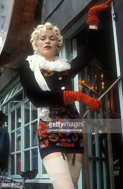 Model wearing Vivienne Westwood clothes outside the Worlds End Shop London 1980's