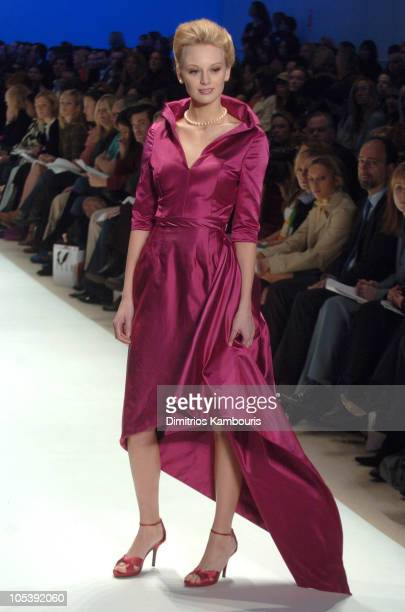 Model wearing Wendy Pepper for 'Project Runway' Fall 2005