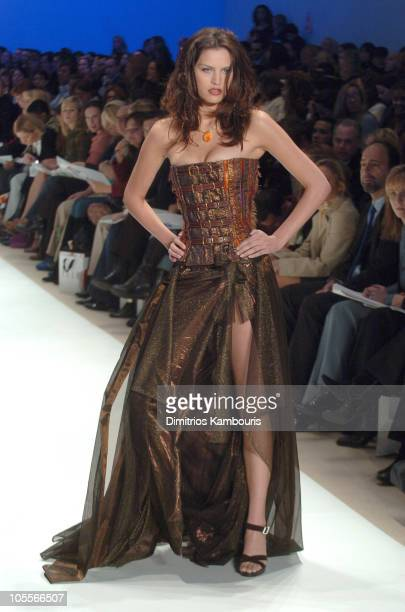 Model wearing Wendy Pepper for Project Runway Fall 2005