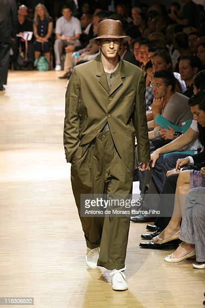 Model wearing Yohji Yamamoto Spring/Summer 2007 during 2006 Paris Menswear - Yohji Yamamoto Spring/Summer 2007 - Runway in Paris, France, United...