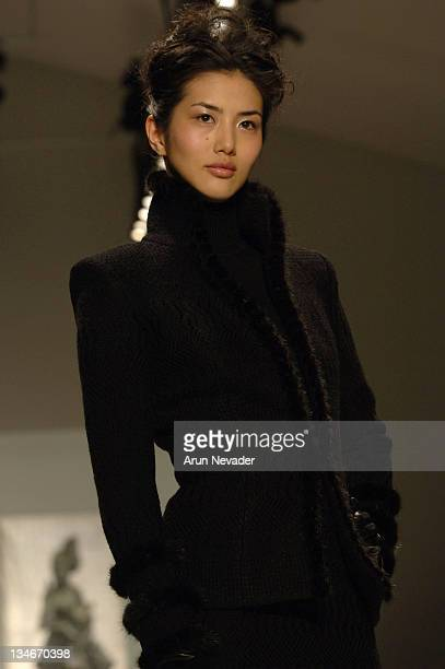 Model wearing Zang Toi Fall 2006 during Olympus Fashion Week Fall 2006 Zang Toi Runway at The Promenade Bryant Park in New York City New York United...