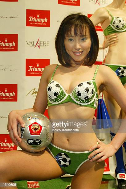 A model wears a 2002 Federation Internationale de Football Association World Cup ''Hat Trick Bra'' May 8 2002 in Tokyo Japan The limited edition bras...