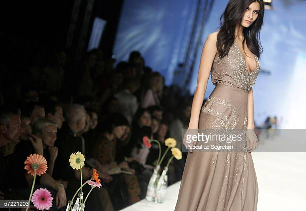 Model wears a creation as part of Elena Souproun's Autumn Winter 2007 collection on March 30 2006 in Moscow Russia