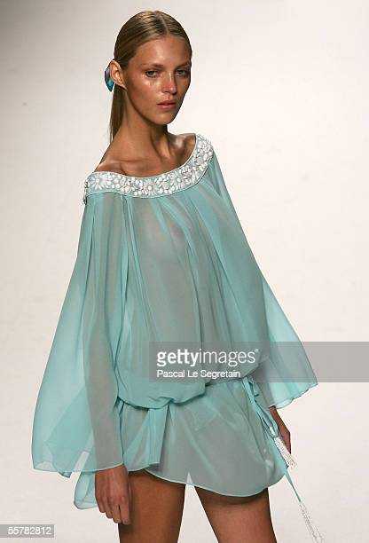 A model wears a creation as part of Emilio Pucci's Spring/Summer 2006 women's collection at Milan's fashion week on September 27 2005 in Milan Italy