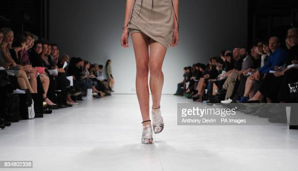 A model wears a creation by AnnSofie Back during London Fashion Week at the Topshop Venue P3 University of Westminster 35 Marylebone Road NW1 5LS