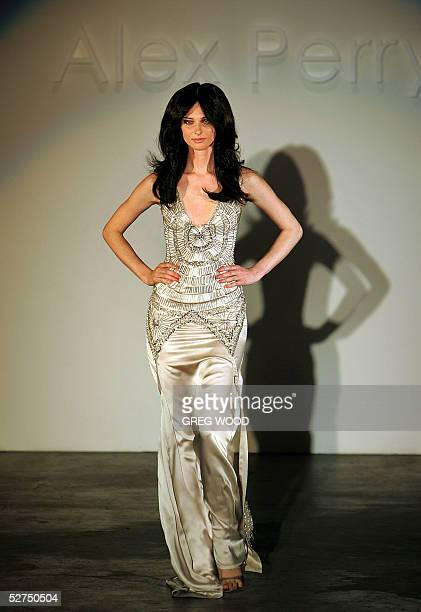 A model wears a creation by Australian designer Alex Perry during one of Australian fashion week's SpringSummer collection shows in Sydney 03 May...