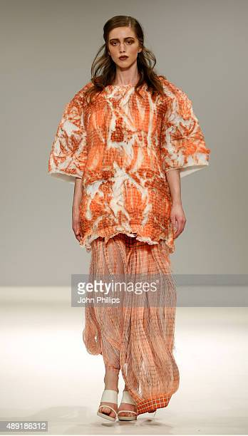 Model wears a creation by designer Camilla Arnbert at the Swedish School of Textiles show at Fashion Scout during London Fashion Week Spring/Summer...