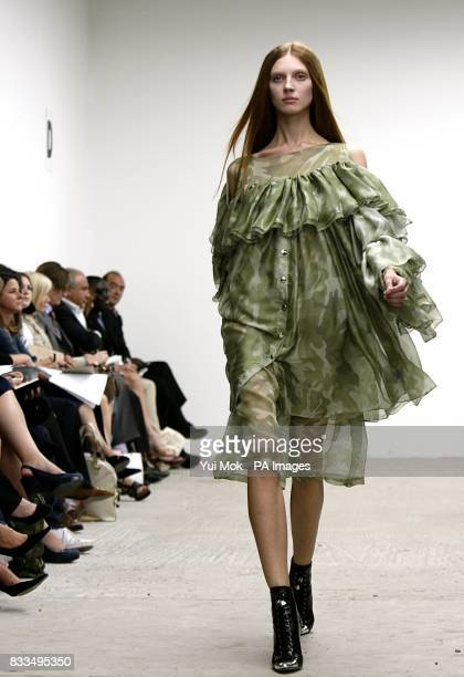 Model wears a creation by designer Christopher Kane at the Topshop New Generation venue, Victoria House, Bloomsbury Square, WC1.