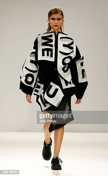 Model wears a creation by designer Emma Lindqvist at the Swedish School of Textiles show at Fashion Scout during London Fashion Week Spring/Summer...