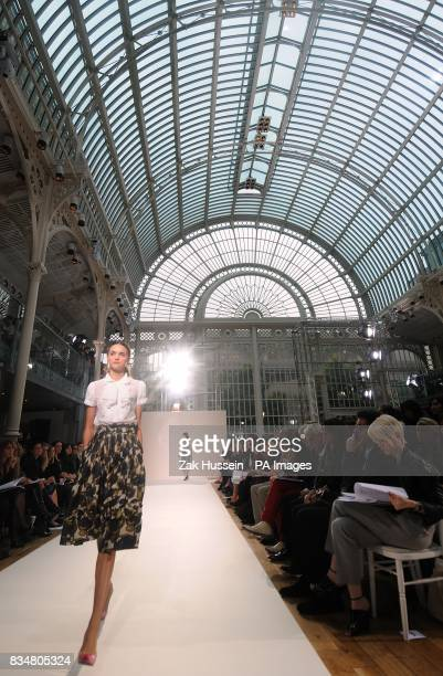 A model wears a creation by designer Nicole Farhi during London Fasion Week at the Royal Opera House London