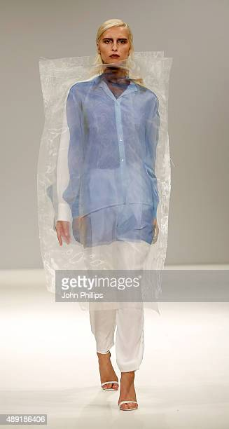 Model wears a creation by designer Saina Koohnavard at the Swedish School of Textiles show at Fashion Scout during London Fashion Week Spring/Summer...