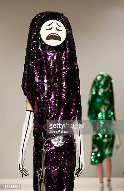 Model wears a creation by designer Sara Berg at the Swedish School of Textiles show at Fashion Scout during London Fashion Week Spring/Summer 2016 on...