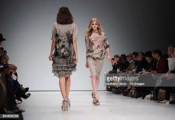 A model wears a creation by Emma Cook during London Fashion Week at the Topshop Venue P3 University of Westminster 35 Marylebone Road NW1 5LS