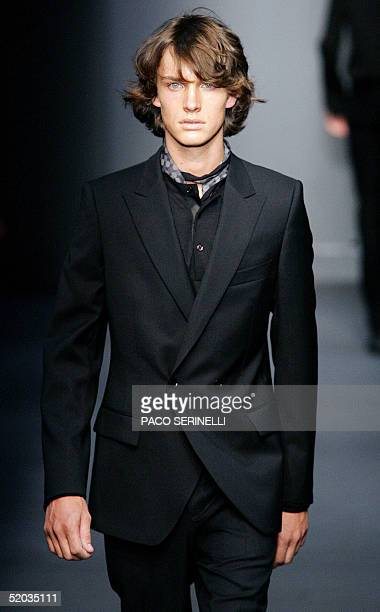 A model wears a creation by Italian designer Italo Zucchelli as part of Calvin Klein's Fall/Winter 2005 collection during Milan men's fashion week 19...