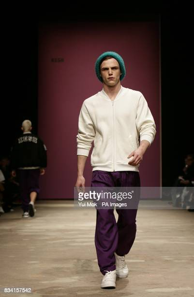 A model wears a creation by MAN during London Fashion Week at the Topshop Venue P3 University of Westminster 35 Marylebone Road NW1 5LS