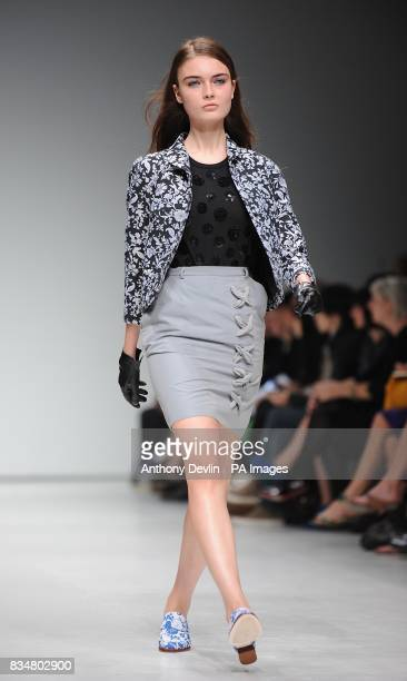 A model wears a creation by Peter Jensen during London Fashion Week at the Topshop Venue P3 University of Westminster 35 Marylebone Road NW1 5LS