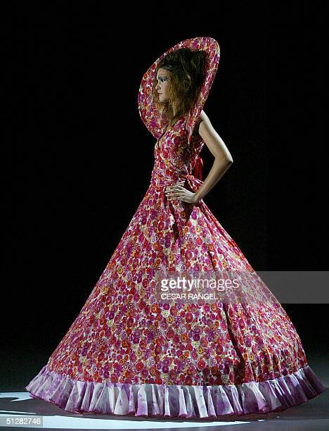 A model wears a creation by Spanish designer Nekane Frik during the SpringSummer 2005 collection show at the Pasarela Gaudi in Barcelona 10 September...