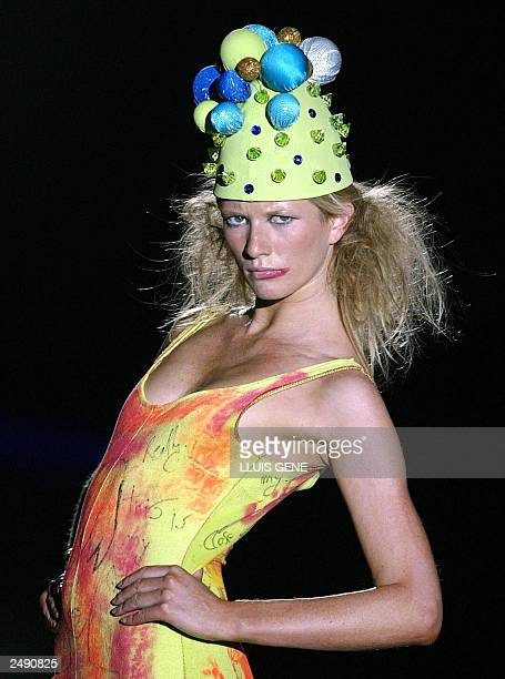 A model wears a creation by Spanish designer Nekane Le Frik during the SpringSummer 2004 collection show at the Pasarela Gaudi in Barcelona 10...