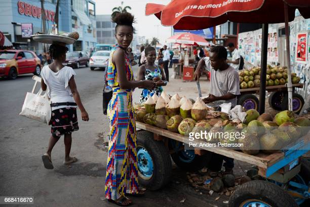 A model wears a creation by the Ghanaian/American designers OseiDuro on April 21 2015 in central Accra Ghana